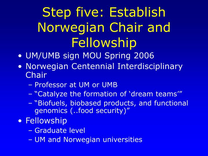Step five: Establish Norwegian Chair and Fellowship