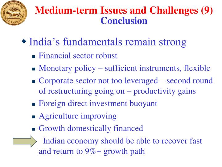Medium-term Issues and Challenges (9)