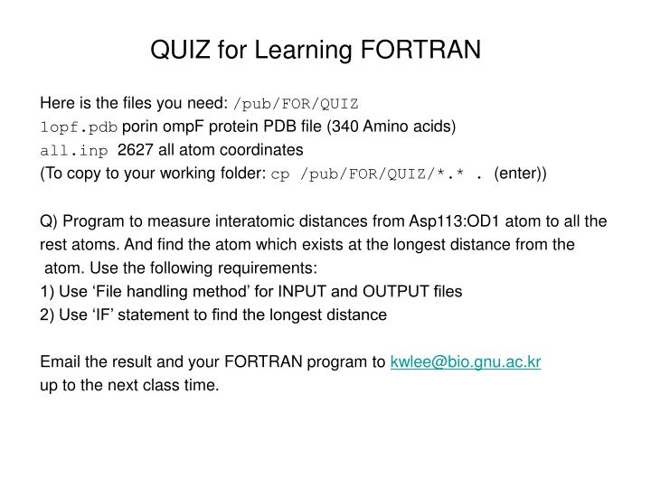 QUIZ for Learning FORTRAN