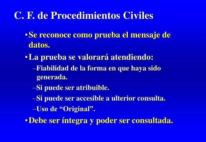 C. F. de Procedimientos Civiles