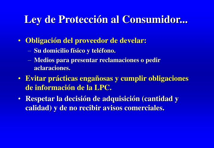 Ley de Protección al Consumidor...