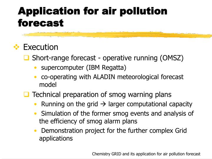 Application for air pollution forecast