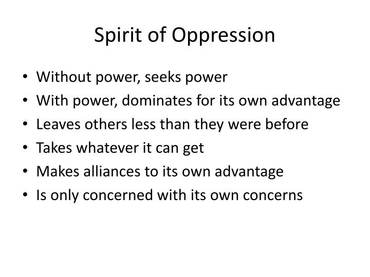 Spirit of Oppression