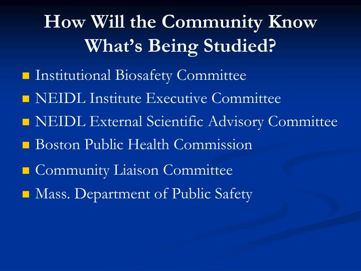 How Will the Community Know What's Being Studied?