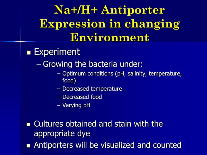 Na+/H+ Antiporter Expression in changing Environment