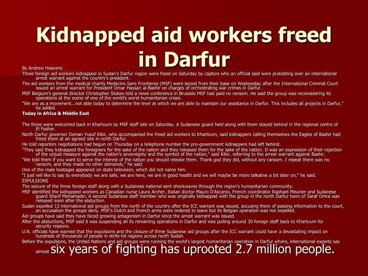 Kidnapped aid workers freed in Darfur