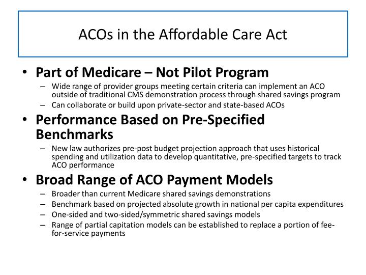 ACOs in the Affordable Care Act