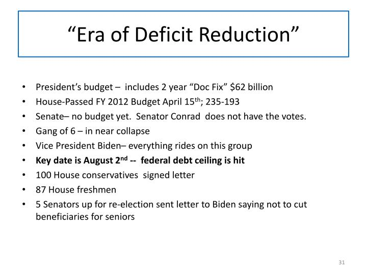 """Era of Deficit Reduction"""