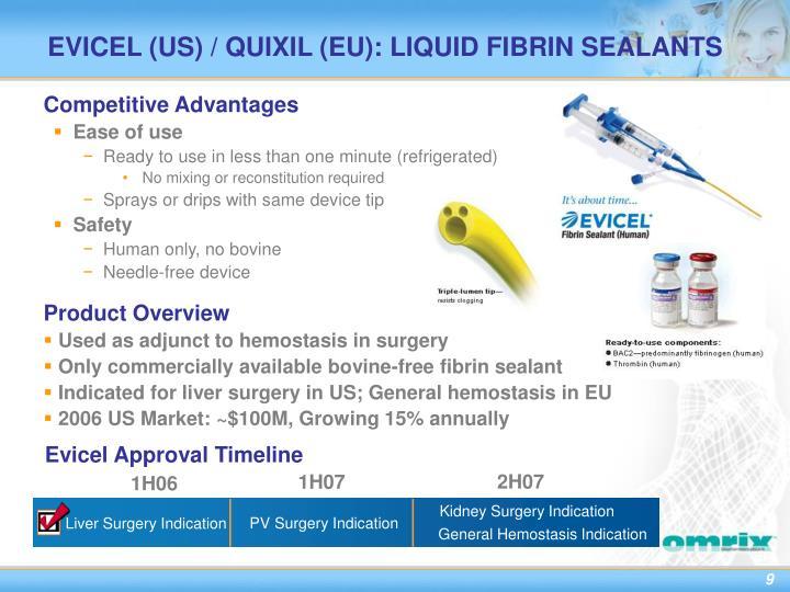EVICEL (US) / QUIXIL (EU): LIQUID FIBRIN SEALANTS