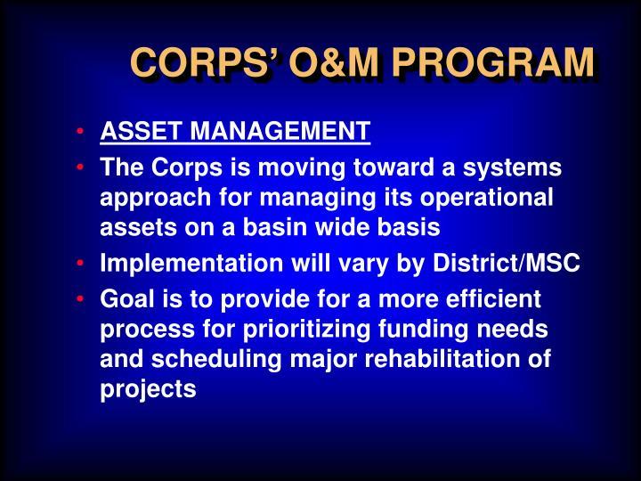 CORPS' O&M PROGRAM