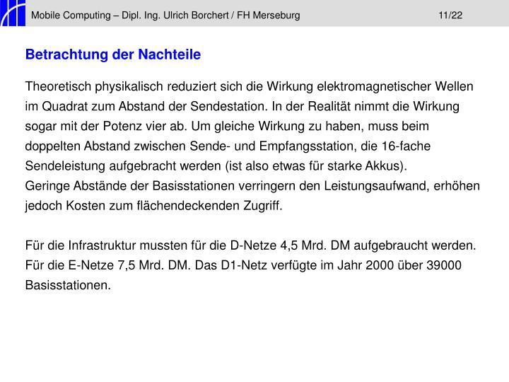 Mobile Computing – Dipl. Ing. Ulrich Borchert / FH Merseburg11/22