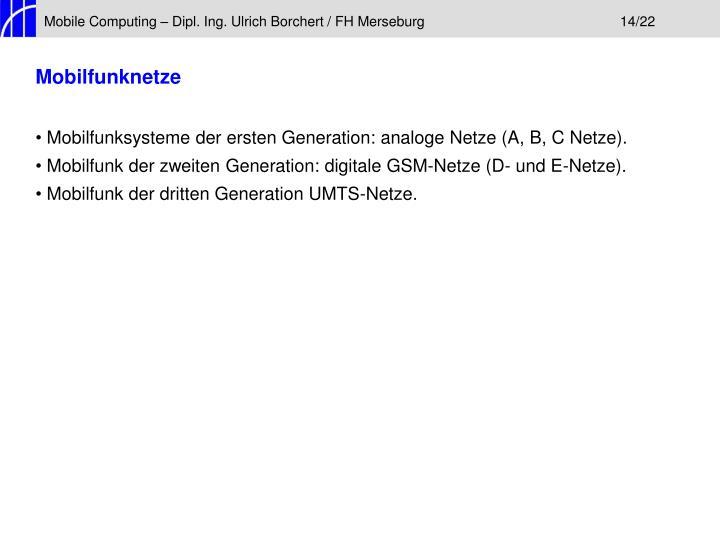 Mobile Computing – Dipl. Ing. Ulrich Borchert / FH Merseburg14/22