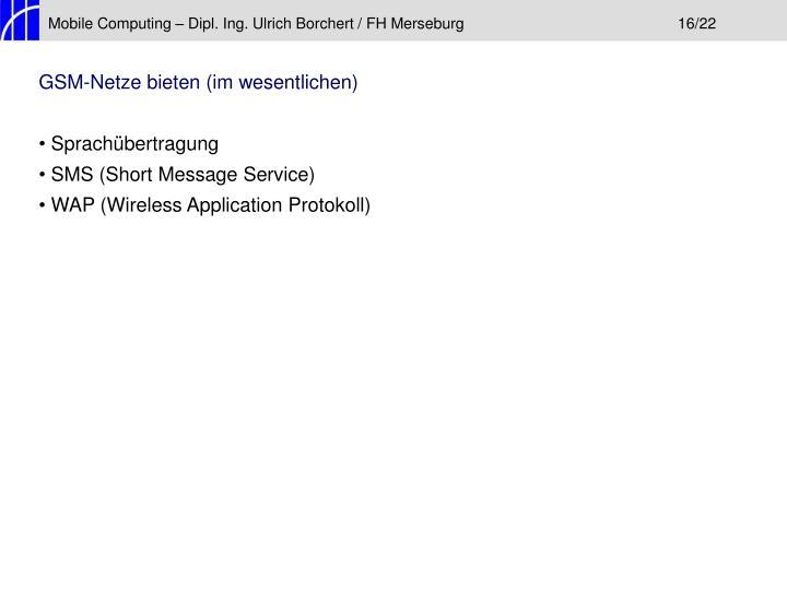 Mobile Computing – Dipl. Ing. Ulrich Borchert / FH Merseburg16/22