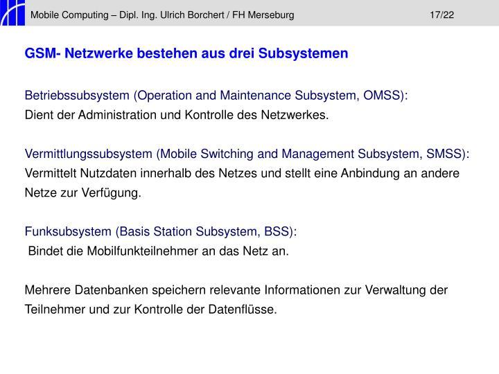 Mobile Computing – Dipl. Ing. Ulrich Borchert / FH Merseburg17/22