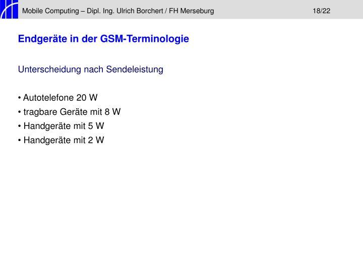 Mobile Computing – Dipl. Ing. Ulrich Borchert / FH Merseburg18/22