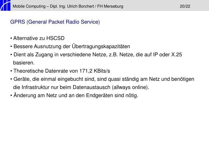 Mobile Computing – Dipl. Ing. Ulrich Borchert / FH Merseburg20/22