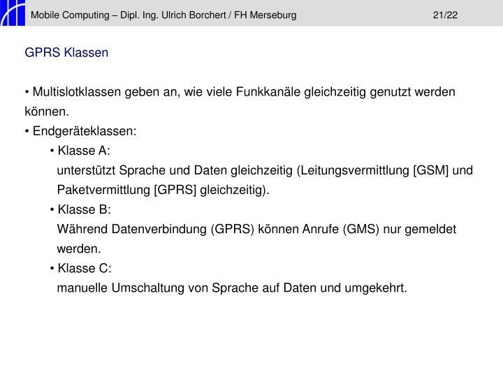 Mobile Computing – Dipl. Ing. Ulrich Borchert / FH Merseburg21/22