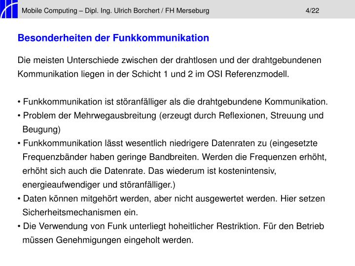 Mobile Computing – Dipl. Ing. Ulrich Borchert / FH Merseburg4/22