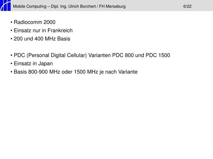 Mobile Computing – Dipl. Ing. Ulrich Borchert / FH Merseburg6/22
