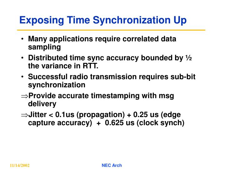 Exposing Time Synchronization Up