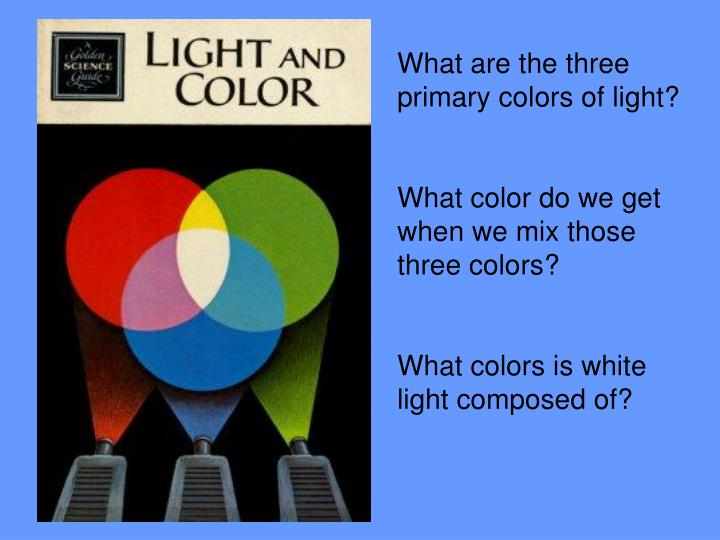 What are the three primary colors of light?