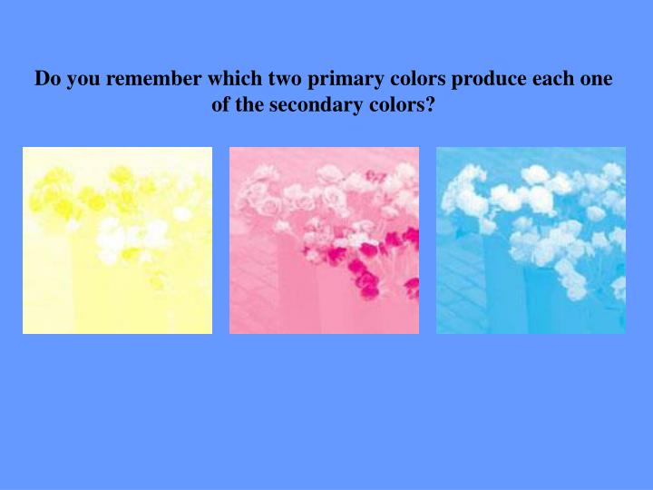 Do you remember which two primary colors produce each one of the secondary colors?