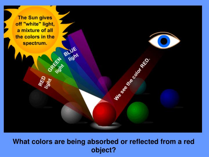 What colors are being absorbed or reflected from a red object?
