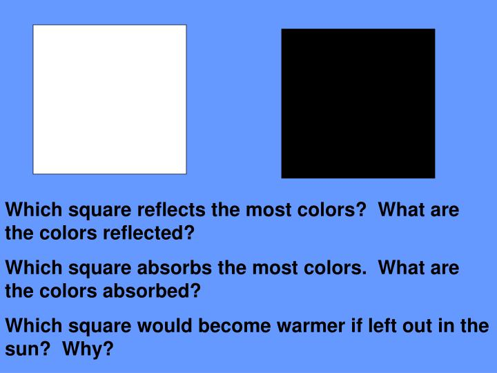 Which square reflects the most colors?  What are the colors reflected?