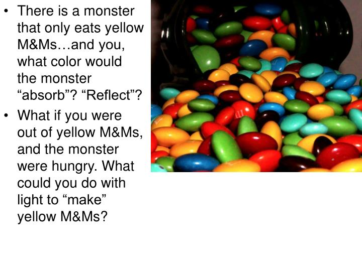 "There is a monster that only eats yellow M&Ms…and you, what color would the monster ""absorb""? ""Reflect""?"