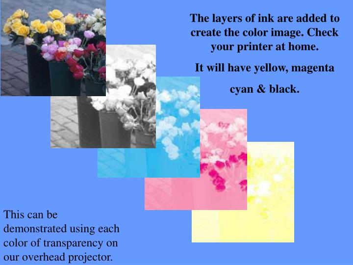 The layers of ink are added to create the color image. Check your printer at home.