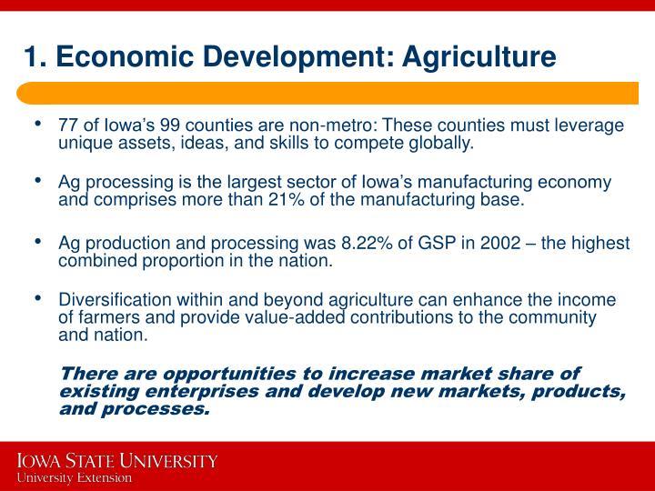 1. Economic Development: Agriculture
