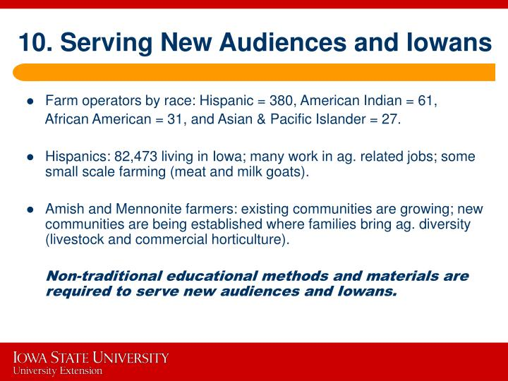 10. Serving New Audiences and Iowans