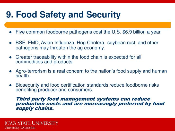 9. Food Safety and Security