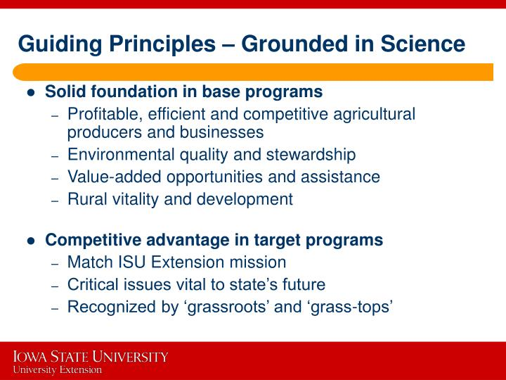 Guiding Principles – Grounded in Science