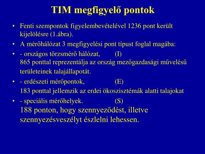 TIM megfigyelő pontok