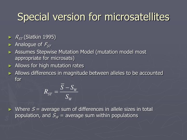 Special version for microsatellites