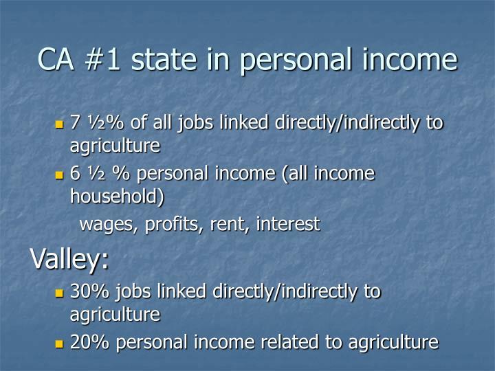 CA #1 state in personal income