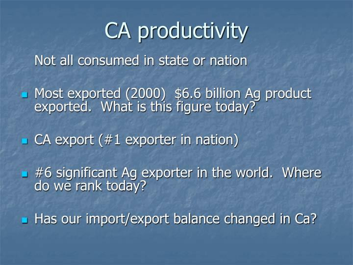 CA productivity