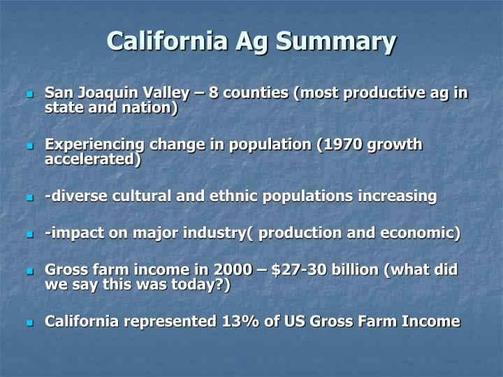 California Ag Summary