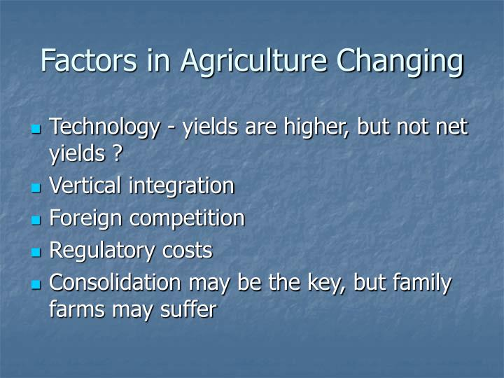Factors in Agriculture Changing