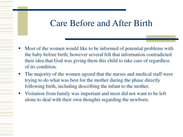 Care Before and After Birth