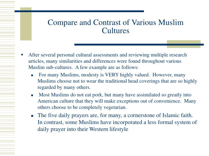 Compare and Contrast of Various Muslim Cultures