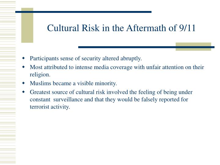 Cultural Risk in the Aftermath of 9/11