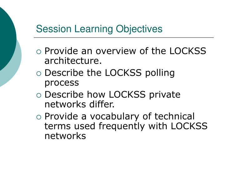 Session learning objectives