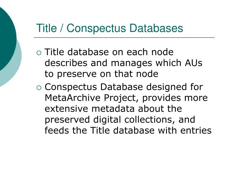 Title / Conspectus Databases
