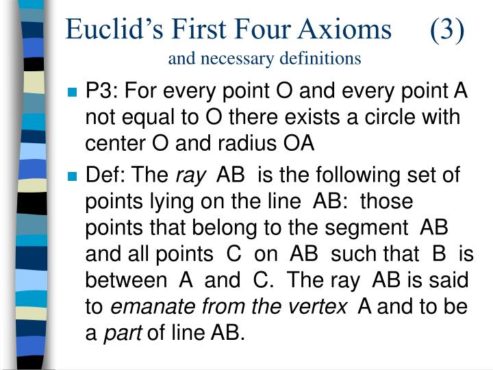 Euclid's First Four Axioms     (3)