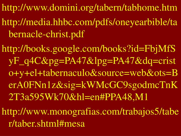 http://www.domini.org/tabern/tabhome.htm