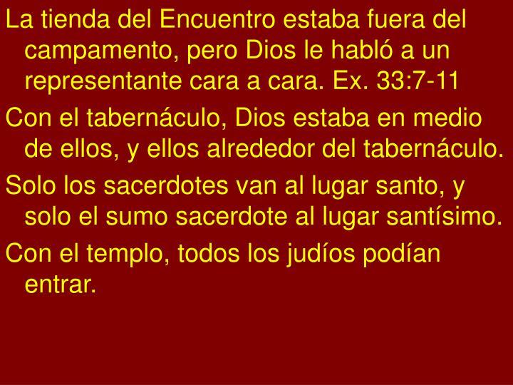 La tienda del Encuentro estaba fuera del campamento, pero Dios le habló a un representante cara a cara. Ex. 33:7-11