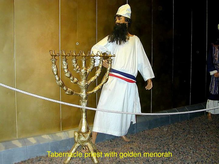 Tabernacle priest with golden menorah