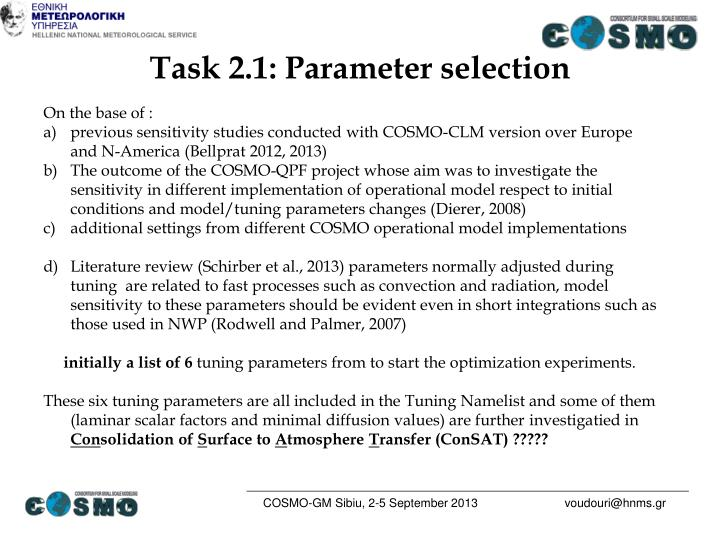 Task 2.1: Parameter selection